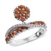 Orange Sapphire, White Zircon Platinum Over Sterling Silver Criss Cross Charm Ring (Size 7.0) TGW 2.320 cts.
