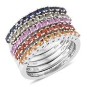 Set of 5 Multi Sapphire Platinum Over Sterling Silver Rainbow Half Eternity Band Rings (Size 6.0) TGW 2.58 cts.