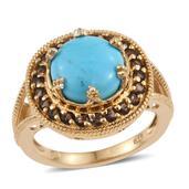 Arizona Sleeping Beauty Turquoise, Brazilian Smoky Quartz 14K YG Over Sterling Silver Split Ring (Size 8.0) TGW 4.500 cts.