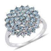 Cambodian Blue Zircon Platinum Over Sterling Silver Ring (Size 5.0) TGW 3.66 cts.