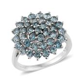 Cambodian Blue Zircon Platinum Over Sterling Silver Ring (Size 6.0) TGW 3.66 cts.