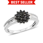 Black Diamond (IR) Platinum Over Sterling Silver Ring (Size 9.0) TDiaWt 0.52 cts, TGW 0.52 cts.