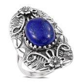 Lapis Lazuli Sterling Silver Elongated Ring (Size 7.0) TGW 10.900 cts.