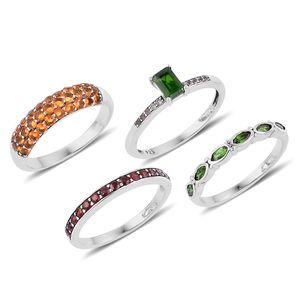Set of 4 Multi Gemstone Sterling Silver Multi Design Rings (Size 8) TGW 3.430 cts.