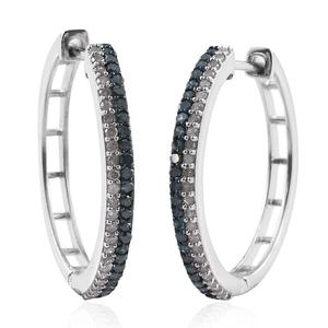 Blue Diamond (IR) Platinum Over Sterling Silver Hoop Earrings TDiaWt 1.00 cts, TGW 1.000 cts.