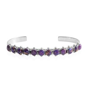 Santa Fe Style Mojave Purple Turquoise Sterling Silver Cuff (6 in) TGW 13.00 cts.