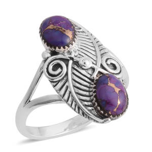 Santa Fe Style Mojave Purple Turquoise Sterling Silver Elongated Split Ring (Size 9.0) TGW 6.00 cts.