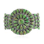 Santa Fe Style Mojave Green Turquoise Sterling Silver Cuff (7.50 in) TGW 13.75 cts.
