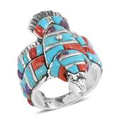 Santa Fe Style Multi Gemstone Sterling Silver Eagle Men's Ring (Size 14.0) TGW 8.501 cts.