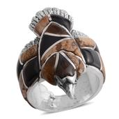Santa Fe Style South African Tigers Eye, Multi Gemstone Sterling Silver Eagle Men's Ring (Size 11.0) TGW 4.750 cts.
