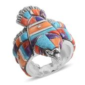 Santa Fe Style Multi Gemstone Sterling Silver Men's Eagle Band Ring (Size 13.0) TGW 5.752 cts.