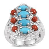 Arizona Sleeping Beauty Turquoise, Mediterranean Coral Platinum Over Sterling Silver Elongated Ring (Size 5.0) TGW 3.360 cts.