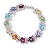 Multi Color Austrian Crystal, Simulated White Diamond Silvertone Bracelet (6.50 In) TGW 5.00 cts.