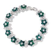 Green Austrian Crystal, Simulated White Diamond Silvertone Bracelet (8.00 In) TGW 5.00 cts.