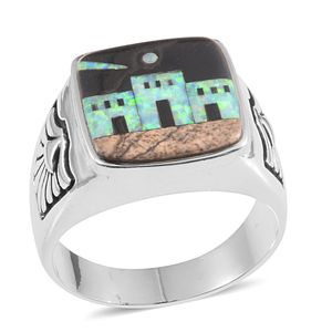 Santa Fe Style Multi Gemstone Sterling Silver Men's Midnight Village Ring (Size 11.0) TGW 1.751 cts.