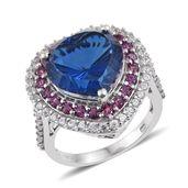 Brazilian Azul Quartz, Orissa Rhodolite Garnet, White Zircon Platinum Over Sterling Silver Ring (Size 7.0) TGW 13.16 cts.