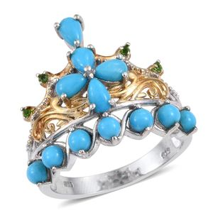 Arizona Sleeping Beauty Turquoise, Russian Diopside 14K YG and Platinum Over Sterling Silver Ring (Size 7.0) TGW 2.280 cts.