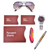 Brown Gift Set-STRADA Japanese Movement Watch in Stainless Steel, RFID Passport Card Sleeve, Stylus Pen with LED Flashlight, Multi-Purpose Pocket Knife, and Aviator