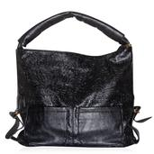 Black Faux Leather Hobo (17x13x6 in)