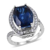 Brazilian Azul Quartz, White Zircon Platinum Over Sterling Silver Ring (Size 7.0) TGW 12.000 cts.