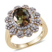 14K YG Jenipapo Andalusite, Diamond Ring (Size 7.0) TDiaWt 0.66 cts, TGW 3.160 cts.