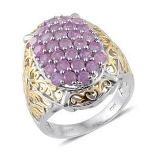 Niassa Pink Sapphire 14K YG and Platinum Over Sterling Silver Cluster Ring (Size 6.0) TGW 3.48 cts.