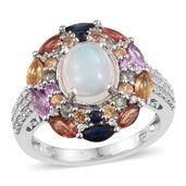 Ethiopian Welo Opal, Multi Gemstone Platinum Over Sterling Silver Ring (Size 7.0) TGW 5.53 cts.