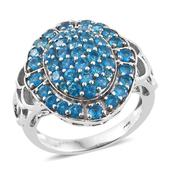Malgache Neon Apatite Platinum Over Sterling Silver Cluster Ring (Size 8.0) TGW 3.06 cts.