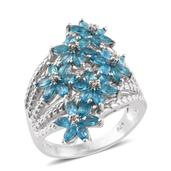Malgache Neon Apatite, White Zircon Platinum Over Sterling Silver Blossoming Bouquet Ring (Size 9.0) TGW 2.90 cts.
