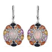 Ethiopian Welo Opal, Multi Gemstone Platinum Over Sterling Silver Lever Back Earrings TGW 7.22 cts.