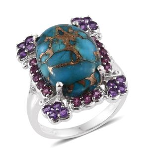 Mojave Blue Turquoise, Multi Gemstone Platinum Over Sterling Silver Ring (Size 6.0) TGW 14.35 cts.