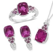 Radiant Orchid Quartz, Orissa Rhodolite Garnet Platinum Over Sterling Silver J-Hoop Earrings, Ring (Size 6) and Pendant With Chain (20 in) TGW 12.17 cts.