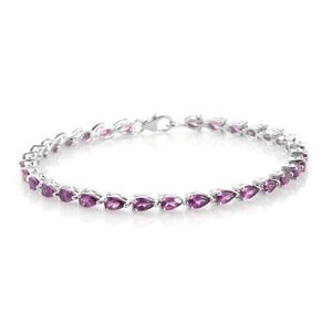 TLV Purple Garnet Platinum Over Sterling Silver Bracelet (7.50 In) TGW 7.60 cts.