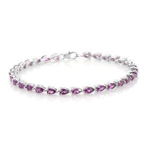 TLV Purple Garnet Platinum Over Sterling Silver Bracelet (7.50 In) TGW 7.60 cts.