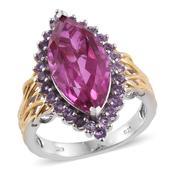 Radiant Orchid Quartz, Rose De France Amethyst 14K YG and Platinum Over Sterling Silver Ring (Size 7.0) TGW 9.970 cts.