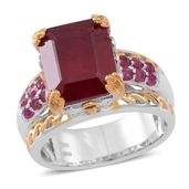 Niassa Ruby, Ruby 14K YG and Platinum Over Sterling Silver Openwork Lifted Bridge Ring (Size 7.0) TGW 10.54 cts.