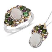 Australian White Opal, Russian Diopside, Orissa Rhodolite Garnet 14K YG and Platinum Over Sterling Silver Ring (Size 7) and Pendant With Chain (20 in) TGW 3.910 cts.