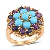 Arizona Sleeping Beauty Turquoise, Amethyst, Catalina Iolite 14K YG Over Sterling Silver Ring (Size 6.0) TGW 4.82 cts.