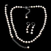 Freshwater Pearl Stainless Steel Lever Back Earrings, Bracelet and Necklace