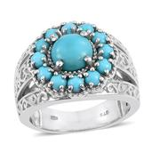 Arizona Sleeping Beauty Turquoise Platinum Over Sterling Silver Engraved Floral Ring (Size 6.0) TGW 2.740 cts.