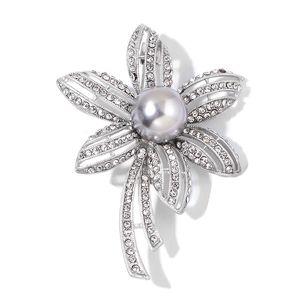 Simulated Gray Pearl, Austrian Crystal Silvertone Flower Brooch