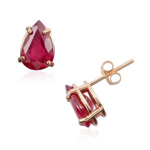 14K YG Niassa Ruby Stud Earrings TGW 3.11 cts.
