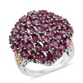 Orissa Rhodolite Garnet 14K YG and Platinum Over Sterling Silver Cluster Ring (Size 6.0) TGW 9.470 cts.