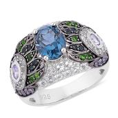 London Blue Topaz, Multi Gemstone Black Rhodium Over and Sterling Silver Ring (Size 8.0) TGW 4.710 cts.