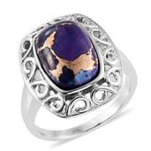 Mojave Purple Turquoise Stainless Steel Ring (Size 7.0) TGW 6.350 cts.