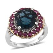 Belgian Teal Fluorite, Niassa Ruby 14K YG and Platinum Over Sterling Silver Ring (Size 6.0) TGW 8.990 cts.