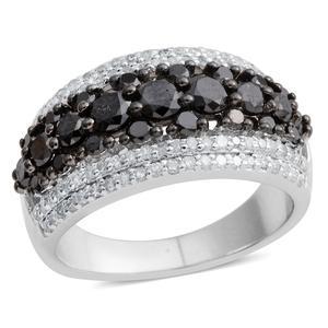 Black Diamond (IR), Diamond Black Rhodium Over & Sterling Silver Ring (Size 6.0) TDiaWt 2.01 cts, TGW 2.01 cts.