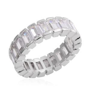 Simulated Diamond Silvertone Ring (Size 9.5) TGW 6.090 cts.