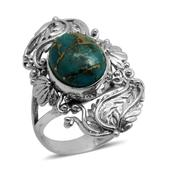 Bali Legacy Collection Mojave Blue Turquoise Sterling Silver Elongated Split Ring (Size 9.0) TGW 6.190 cts.