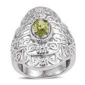 KARIS Collection - Hebei Peridot Platinum Bond Brass Ring (Size 5.0) TGW 1.150 cts.